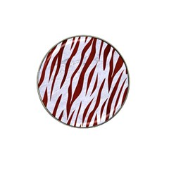 Skin3 White Marble & Red Wood (r) Hat Clip Ball Marker (10 Pack) by trendistuff