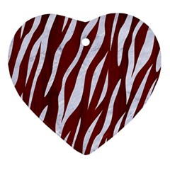 Skin3 White Marble & Red Wood Ornament (heart) by trendistuff