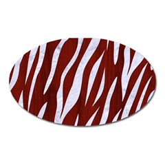 Skin3 White Marble & Red Wood Oval Magnet by trendistuff