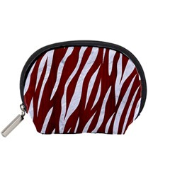 Skin3 White Marble & Red Wood Accessory Pouches (small)  by trendistuff