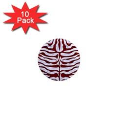 Skin2 White Marble & Red Wood (r) 1  Mini Magnet (10 Pack)  by trendistuff