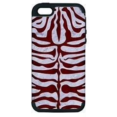 Skin2 White Marble & Red Wood (r) Apple Iphone 5 Hardshell Case (pc+silicone) by trendistuff
