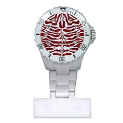 Skin2 White Marble & Red Wood Plastic Nurses Watch by trendistuff