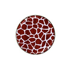 Skin1 White Marble & Red Wood (r) Hat Clip Ball Marker by trendistuff