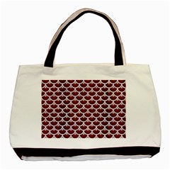 Scales3 White Marble & Red Wood Basic Tote Bag