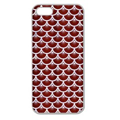 Scales3 White Marble & Red Wood Apple Seamless Iphone 5 Case (clear) by trendistuff
