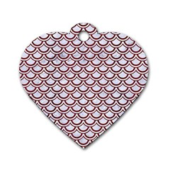 Scales2 White Marble & Red Wood (r)scales2 White Marble & Red Wood (r) Dog Tag Heart (two Sides) by trendistuff