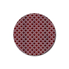 Scales2 White Marble & Red Wood Rubber Round Coaster (4 Pack)  by trendistuff