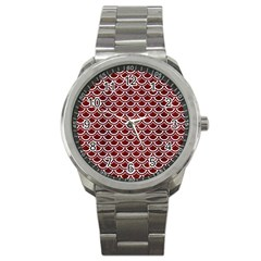 Scales2 White Marble & Red Wood Sport Metal Watch by trendistuff