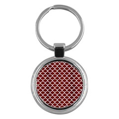 Scales1 White Marble & Red Wood Key Chains (round)  by trendistuff
