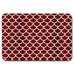 Scales1 White Marble & Red Wood Large Doormat  by trendistuff