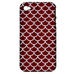Scales1 White Marble & Red Wood Apple Iphone 4/4s Hardshell Case (pc+silicone) by trendistuff