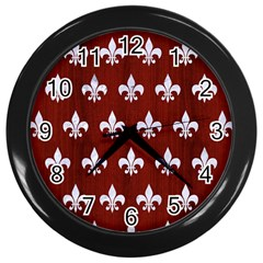 Royal1 White Marble & Red Wood (r) Wall Clocks (black) by trendistuff