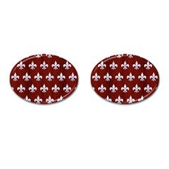 Royal1 White Marble & Red Wood (r) Cufflinks (oval)