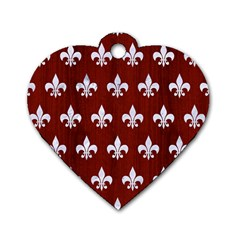 Royal1 White Marble & Red Wood (r) Dog Tag Heart (one Side) by trendistuff