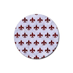 Royal1 White Marble & Red Wood Rubber Round Coaster (4 Pack)  by trendistuff