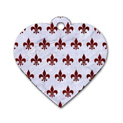 Royal1 White Marble & Red Wood Dog Tag Heart (one Side) by trendistuff