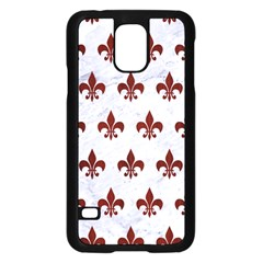 Royal1 White Marble & Red Wood Samsung Galaxy S5 Case (black) by trendistuff