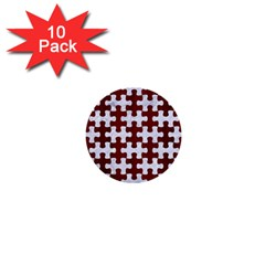 Puzzle1 White Marble & Red Wood 1  Mini Buttons (10 Pack)  by trendistuff