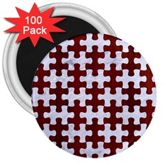 Puzzle1 White Marble & Red Wood 3  Magnets (100 Pack) by trendistuff