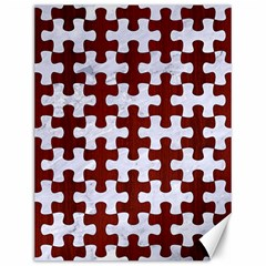 Puzzle1 White Marble & Red Wood Canvas 12  X 16   by trendistuff