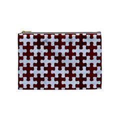 Puzzle1 White Marble & Red Wood Cosmetic Bag (medium)  by trendistuff