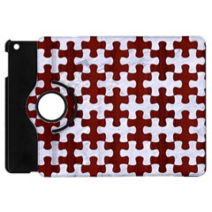 Puzzle1 White Marble & Red Wood Apple Ipad Mini Flip 360 Case by trendistuff