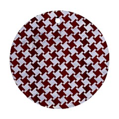 Houndstooth2 White Marble & Red Wood Ornament (round) by trendistuff