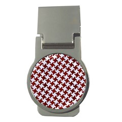 Houndstooth2 White Marble & Red Wood Money Clips (round)  by trendistuff