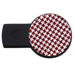 Houndstooth2 White Marble & Red Wood Usb Flash Drive Round (4 Gb) by trendistuff