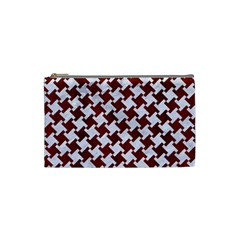 Houndstooth2 White Marble & Red Wood Cosmetic Bag (small)  by trendistuff