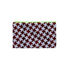 Houndstooth2 White Marble & Red Wood Cosmetic Bag (xs)