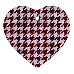 Houndstooth1 White Marble & Red Wood Ornament (heart) by trendistuff