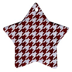 Houndstooth1 White Marble & Red Wood Ornament (star) by trendistuff
