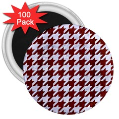 Houndstooth1 White Marble & Red Wood 3  Magnets (100 Pack) by trendistuff