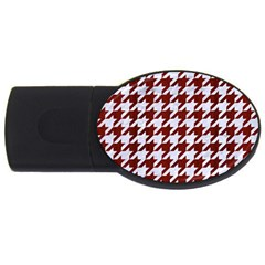 Houndstooth1 White Marble & Red Wood Usb Flash Drive Oval (2 Gb) by trendistuff