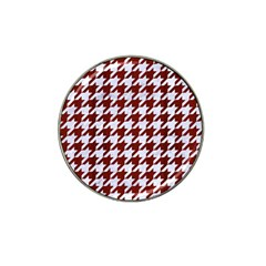 Houndstooth1 White Marble & Red Wood Hat Clip Ball Marker (10 Pack) by trendistuff