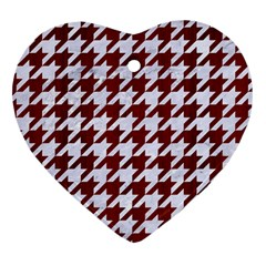 Houndstooth1 White Marble & Red Wood Heart Ornament (two Sides) by trendistuff
