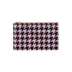 Houndstooth1 White Marble & Red Wood Cosmetic Bag (small)  by trendistuff