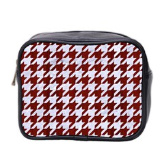 Houndstooth1 White Marble & Red Wood Mini Toiletries Bag 2 Side by trendistuff