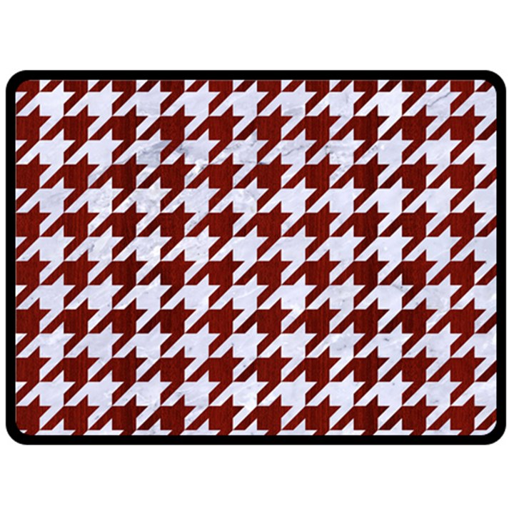 HOUNDSTOOTH1 WHITE MARBLE & RED WOOD Fleece Blanket (Large)