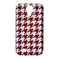 Houndstooth1 White Marble & Red Wood Samsung Galaxy S4 Classic Hardshell Case (pc+silicone)