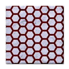 Hexagon2 White Marble & Red Wood (r) Tile Coasters by trendistuff