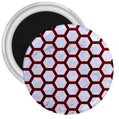 Hexagon2 White Marble & Red Wood (r) 3  Magnets by trendistuff