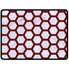 Hexagon2 White Marble & Red Wood (r) Fleece Blanket (large)  by trendistuff