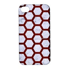 Hexagon2 White Marble & Red Wood (r) Apple Iphone 4/4s Hardshell Case With Stand by trendistuff