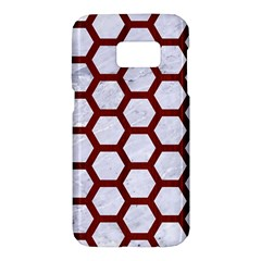 Hexagon2 White Marble & Red Wood (r) Samsung Galaxy S7 Hardshell Case  by trendistuff