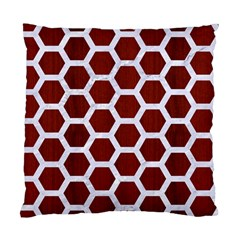 Hexagon2 White Marble & Red Wood Standard Cushion Case (one Side)