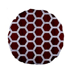 Hexagon2 White Marble & Red Wood Standard 15  Premium Round Cushions by trendistuff