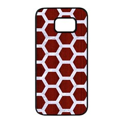Hexagon2 White Marble & Red Wood Samsung Galaxy S7 Edge Black Seamless Case by trendistuff
